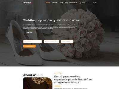 Wedding party arrangement agency web template hotel booking agency design photoshop template template design ui design ui  ux creative photoshop graphic design