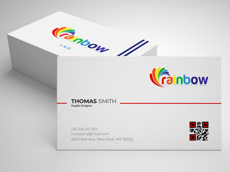 new logo & business card design flat simple rainbow photoshop design creative new concept typography new collection modern logo graphic design corporate clean business card branding