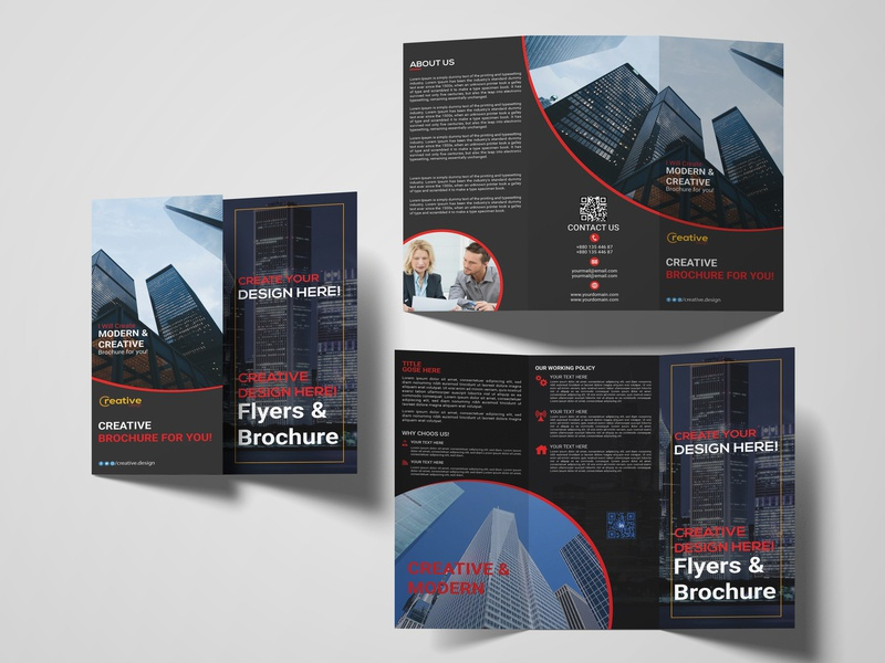 Corporate tri-fold brochure design brochure design brand identity company profile party flyer household construction book cover magazine design trifold brochure new concept new collection modern photoshop creative simple branding graphic design corporate clean branding design