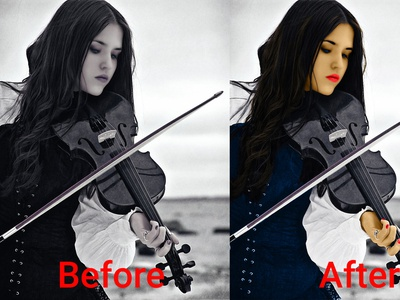 Colorize the black & white image concept blue beauty beautiful coloring book vaolin piano white black character colorist color coloring colorize design new collection photoshop graphic design