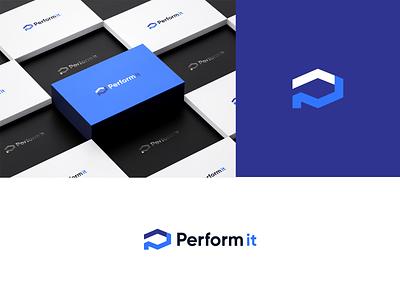 Perform it technology logo tech logo card icon business logos branding logo brand vector illistration design