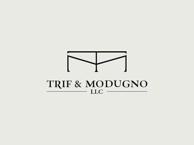 Trif & Modugno justice lawyer law modern logo business logos branding brand logo vector illistration design