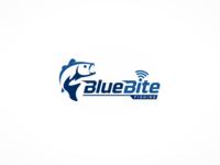 Blue bite fishing logo