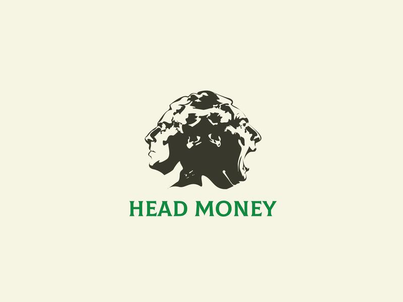 Two Faces headmoney faces head cinema audio art branding logo vector business brand illistration design