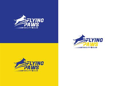 Flying paws animals logo club logo agility paws sports logo sport animal fly dog vector logo brand illistration design