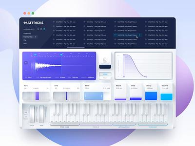 HATTRICKS drums after effects animated branding b3d modeling neumorphism neumorphic violet knob vst ui purple music interface plugin gui blender 3d