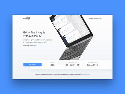 Promo Codes - Marketing website interaction apple promotion landing laptop discount code promo button website web animation page marketing saas blue ux ui 3d design