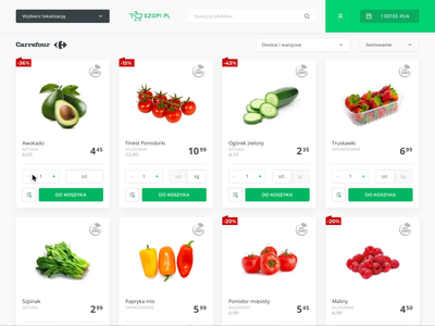 Add to bag motion adding basket sort vegetable fruits category gmo promo promotion price kilograms units catalogs bag interactions ui app ecommerce flat