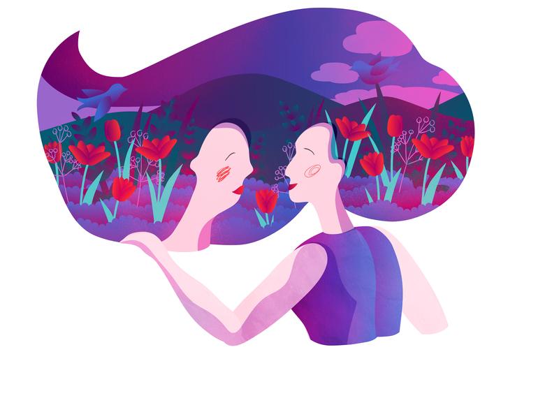Girls Friendship vector illustration