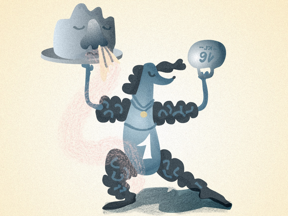 Muscular Poodle and cold Stone poodle character characterdesign design graphic artist vector illustration