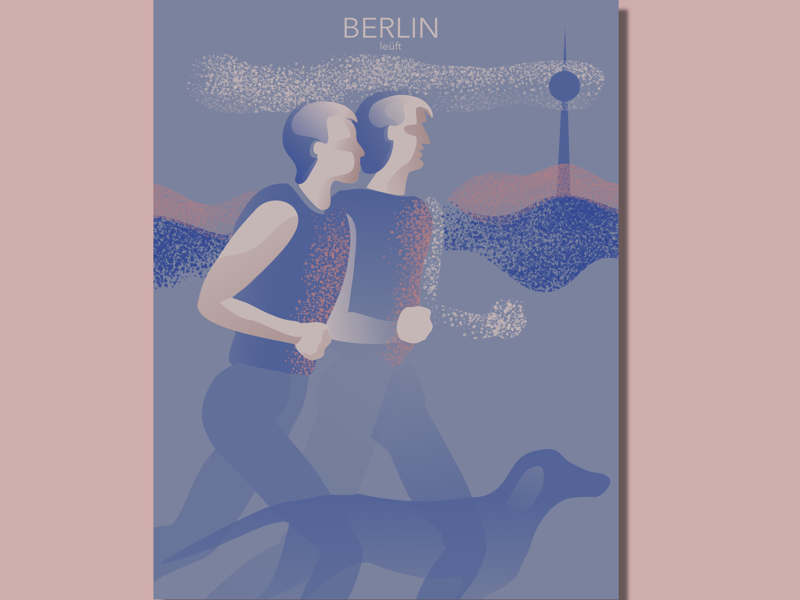 Postcard Berlin leüft berlin illustration postcard