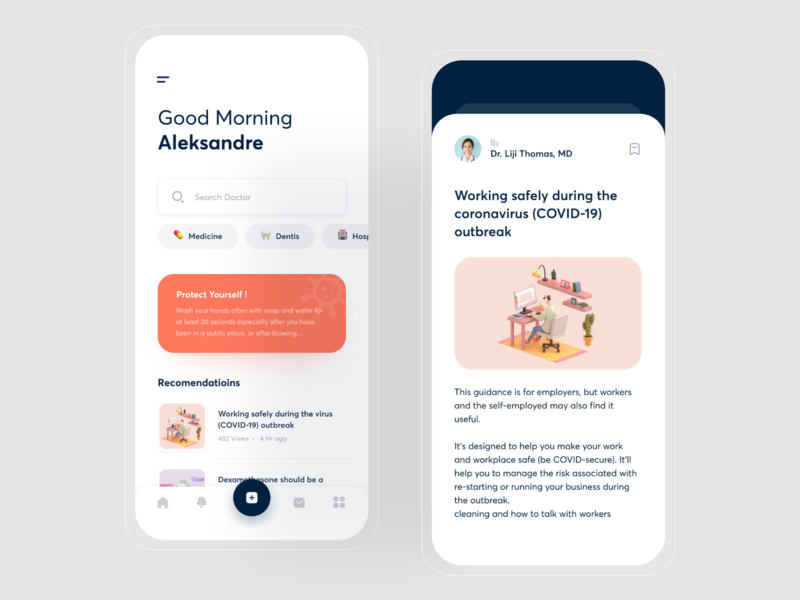 Med App blog app blog medicine app medicine ios design light light theme user interface user experience ui clean app ux