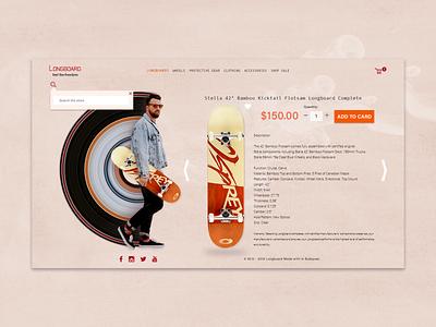 Longboard colors branding creativity fun playing photoshop ecommerce product website design uxui ui design ui