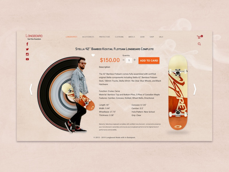 Long Board Version 2 webdesign website colors fun playing creativity feedback improvement photoshop visual design ecommerce onepage design uiux ui