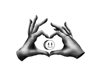 Hand love love smiley face hand blackandwhite illustrator texture photoshop illustration brushes
