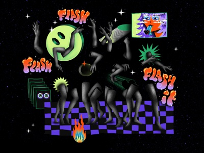 FLASH IT fire dancer flash party smiley face stars hand patterns blackandwhite illustrator colorful texture photoshop illustration brushes