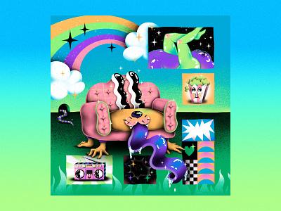 Radio Sofa popcorn sofa rainbow stars smiley face patterns illustrator colorful photoshop brushes texture illustration
