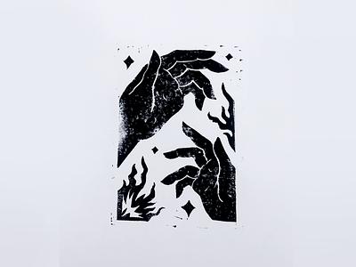 First linocut stars fire linoprint linocut blackandwhite patterns hand texture illustration