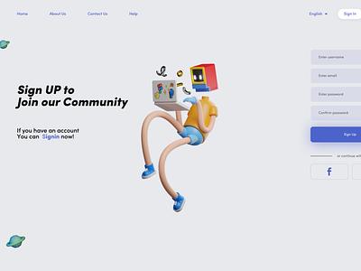 Sign UP Page illustration design uxdesign uidesign ui ux dailyui webdesign sign up signup 3d ui