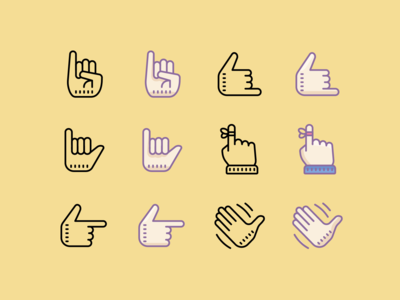 Cute icons: Hands