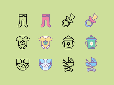 Cute: Baby digital art ux pacifier stroller baby icon ui vector icons8 graphic design design icons