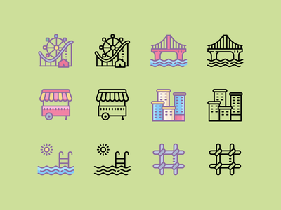 Cute:City buildings park bridge prison city ux icon ui digital art vector icons8 graphic design design icons