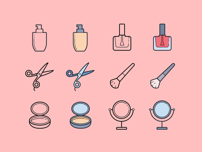 Hand Drawn icons: Beauty makeup brush mirror beauty ux ui digital art vector icons8 graphic design design icons