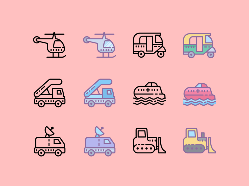 Cute icons: Transport bulldozer helicopter ship vehicle transport vector graphic design design icons8 icons