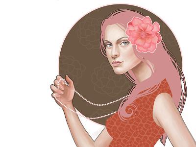 Fashion Art Pearl Necklace beauty illustration beauty fashion illustration photoshop illustration