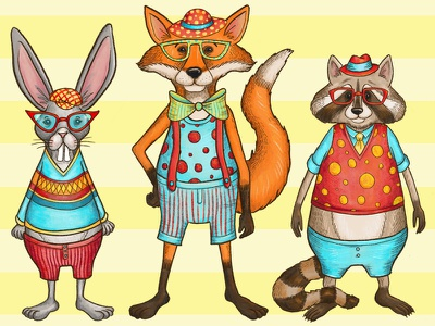 The Usual Suspects procreate animal illustration game art character set graphic art illustration