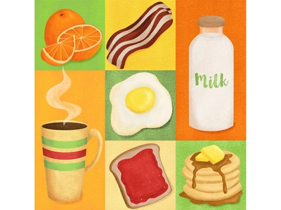 Breakfast Yum breakfast design food graphics good food hearty breakfast toast coffee milk pancakes bacon and eggs breakfast illustration food illustration breakfast illustration