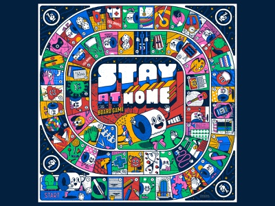 Stay at home, the board game coronavirus free download game of the goose lettering type board game design illustration