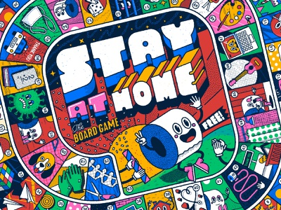 Stay at home, the board game II paper roll lettering graphicdesign design illustration game of the goose game board quarantine stay at home