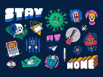 Stay at home, the board game IV covid-19 coronavirus stay at home board game design illustration