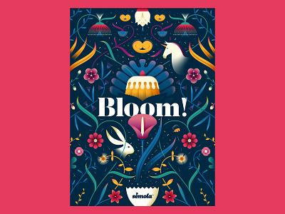 Sémola · Bloom! rabbit unicorn cake ornament bakery easter floral flower vector illustration