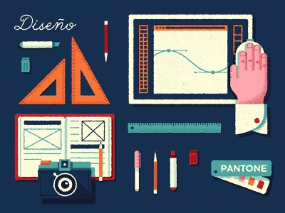 Skills · Diseño rules pencil marker pen tools illustrator pantone camera computer graphic design design illustration