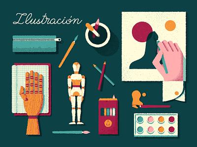 Skills · Ilustración tools hand watercolor painting design illustration illustrator