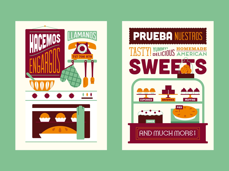 Lusco & Fusco III bakery sweets design vector illustration typography type lettering