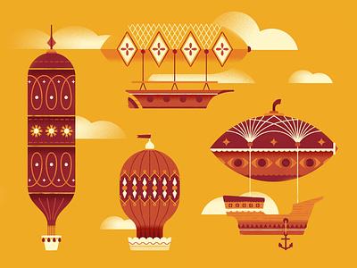 Oh My Cut! II pattern wallpaper sky hot air ballon balloon vector illustration