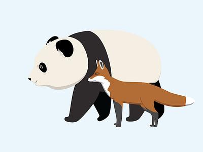 Panda & Fox vector animals fox panda animation illustrator illustration