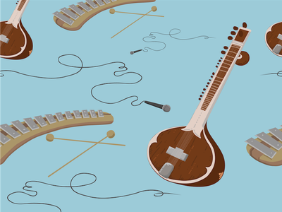 Instruments  wallpaper pattern patterndesign xylophone sitar vector music instrument illustration