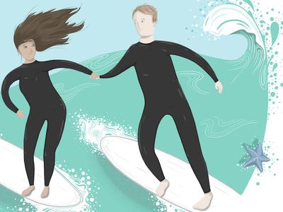 Surfers  wacom cintiq photoshop drawing illustration waves surfboard surfing