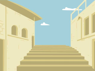 Background houses staircase desert city small town illustrator landscape illustration background scenery house