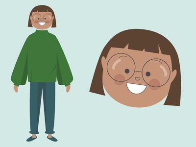 Girl with glasses illustration face happy glasses teenager girl character design character