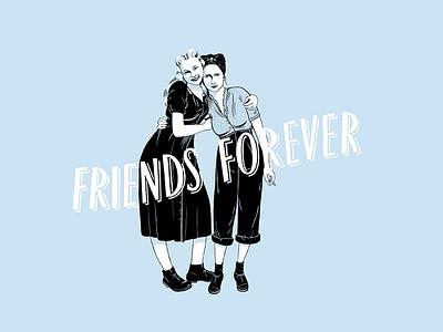 Friends forever photoshop design postcard blue women friends lettering illustration
