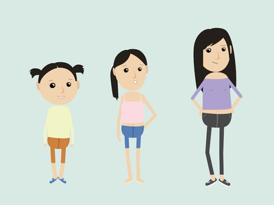 child to teenager educational character character concept life cycle teenager girl vector