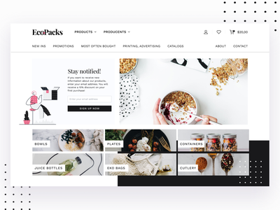 E-Commerce Ecofriendly Homepage homepage ecology graphic design eco-friendly product page landing page landing shopping white web user interface ux branding ecommerce concept website modern interface design ui