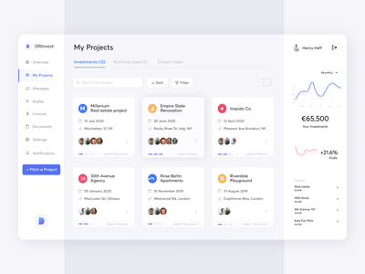 Investments Dashboard services product startup money funding web design interface flat financial app progress chart ui modern clean invest dashboard web app