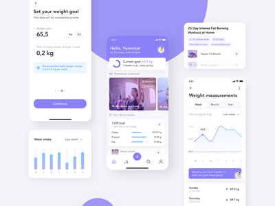 Fitness App training sport ui design design clean ux purple healthcare health fitness mobile modern app interface ui