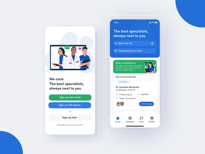 Healthcare App app ios clinic help mobile ui doctor appointment green blue video patients medicine health app doctor health mobile clean ux interface design ui